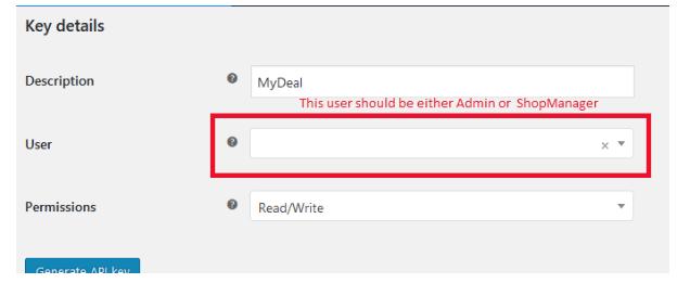 Providing WooCommerce API Access – MyDeal Marketplace